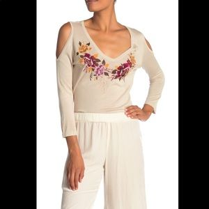 Johnny Was Cold Shoulder Silk Embroidered Sweater